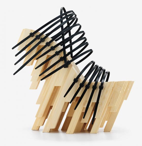2012: Winde Rienstra, bamboo heel with plastic cable ties.