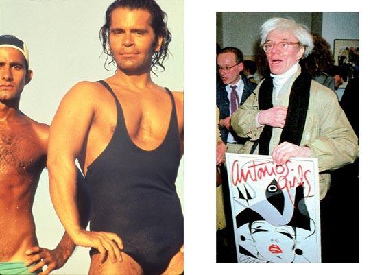 "Juan Ramos and Karl Lagerfeld, Saint Tropez, circa 1970; Andy Warhol, ""Antonio's Girls"", 1983"
