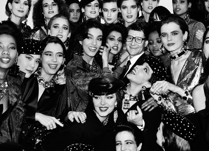 """Yves Saint Laurent and his Pret a Porter models, Paris"", 1985"