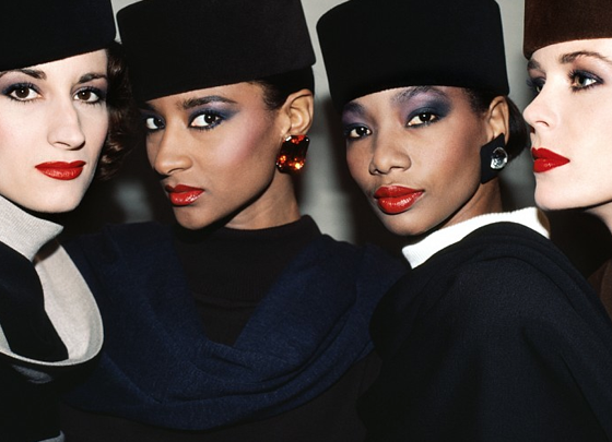 """The many shades of beauty"" Violetta Sanchez, Gloria Burgess, Mounia and YSL Model, Paris, 1984"