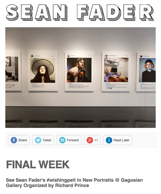 "Press release/ eVite to Fader's Gagosian ""show"""