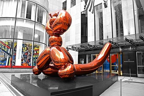 Jeff Koons, Balloon Monkey (orange) 2014, est. $20-30 million