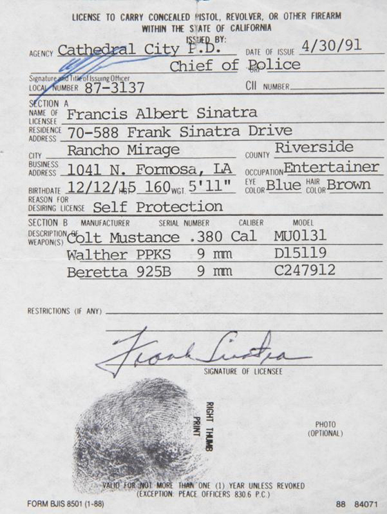 FRANK SINATRA LICENSE TO CARRY CONCEALED WEAPON, EST. $600-800