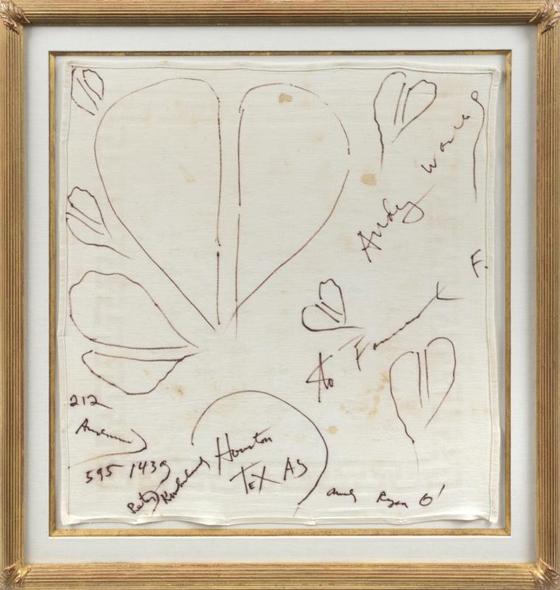 ANDY WARHOL SIGNED FARRAH FAWCETT & RYAN O'NEIL NAPKIN, CIRCA 1980, EST $6-8,000