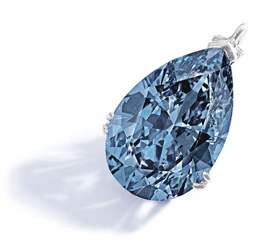 RARE FANCY VIVID BLUE DIAMOND PENDANT, Est. $10,000,000 — 15,000,000; Sold $32,645,000
