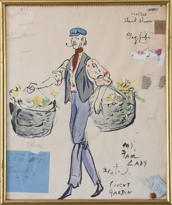 """CECIL BEATON C  OSTUME STUDY FOR A FLOWER SELLER IN """"MY FAIR LADY"""" Est. $1,000 — 1,500; Sold $40,625"""