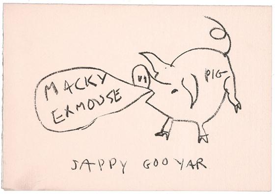 Claes Oldenburg's card to Sam Wagstaff, sent around 1965.