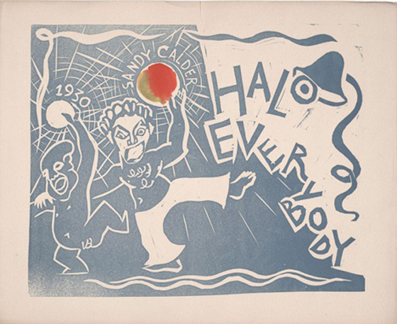 Alexander Calder's 1929 New Year's card was signed with his nickname, 'Sandy.'