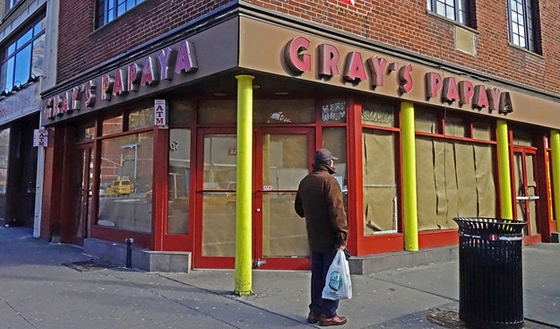 Gray's Papaya – this location closed after a rent hike. One Gray's Papaya left on Bway & 72nd