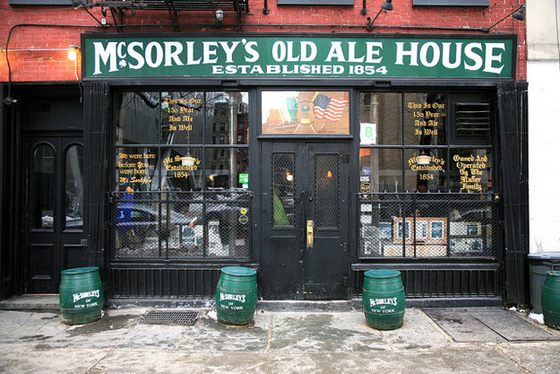 "McSORLEY'S – Around the corner from Cooper Union it's old enough to have served Abraham Lincoln and Ulysses S. Grant. Their motto was always ""Good Ale, Raw Onions and No Ladies"" until N.O.W. sued them and they starting serving women in 1970."