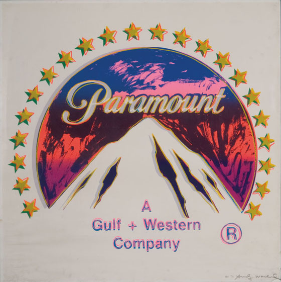 """Warhol's """"Paramount logo"""" painting from 1985. The logo is based on a design by Paramount founder William Wadsworth Hodkinson."""
