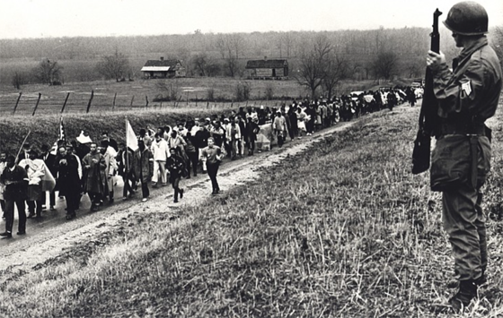 Spider Martin, The Third March Makes Its Way Through Lowndes Country Under Armed Guard, March 21, 1965