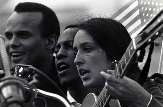 Charles Moore – Many Celebrities Joined The March To Montgomery And Entertained The Marchers On Wednesday Evening. Joan Baez And Harry Belafonte, 1965