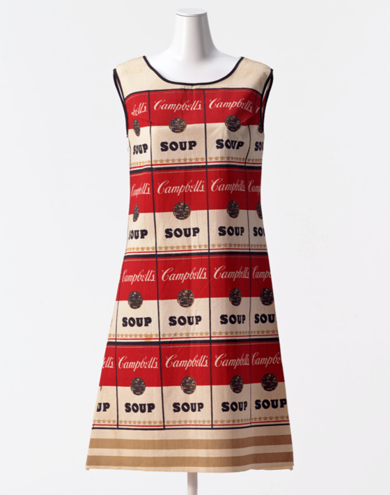 ANDY WARHOL – The Souper Dress, 1965, Lot Number 65, screenprint on cotton paper, 26.5 x 21.5 in E  st. $2,000 – $4,000. Current bid: $4600