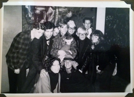 A photo I took of friends at Julian Schnabel's loft at David McDermott's birthday party, circa 1988. You can see Andy far left next To Julian.