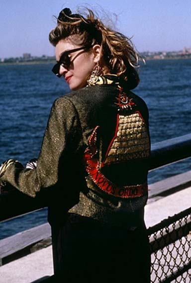 Madonna wearing the jacket which just sold at auction for $250,000