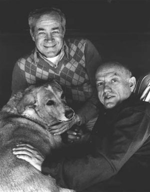 Larson & Bridges with their dog, Max