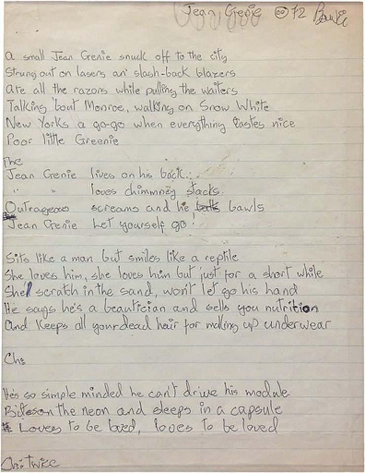 """DAVID BOWIE   Signed Handwritten Lyrics for """"The Jean Genie"""", 1972, $43,000"""