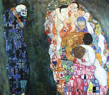 "Gustav Klimt, ""Death and Life"", 1910. Above is Prader's reimagining with the addition of the artist and friend? Assistant? Lover?"