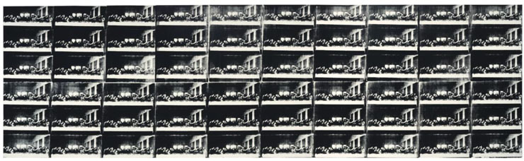 """Andy Warhol, """"Sixty Last Suppers"""", 1986, synthetic polymer and silkscreen ink on canvas. 116 x 393″"""