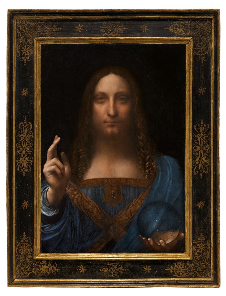 """""""Leonardo da Vinci, Salvator Mundi. Oil on walnut panel. Panel dimensions: 25 13/16 x 17 15/16 in (64.5 x 45.1 cm) top; 17¾ in (45.6 cm) bottom; Painted image dimensions: 15⅜ x 17½ in (64.5 x 44.7 cm). Estimate on request. This work will be offered as a special lot in the Post-War and Contemporary Art Evening Sale on 15 November at Christie's in New York"""" –Christie's"""