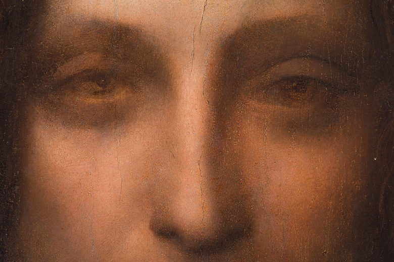 """""""Above the left eye (right as we look at it), are still visible the marks that Leonardo 'made with the heel of his hand to soften the flesh,' as Martin Kemp has observed"""" –Christie's"""
