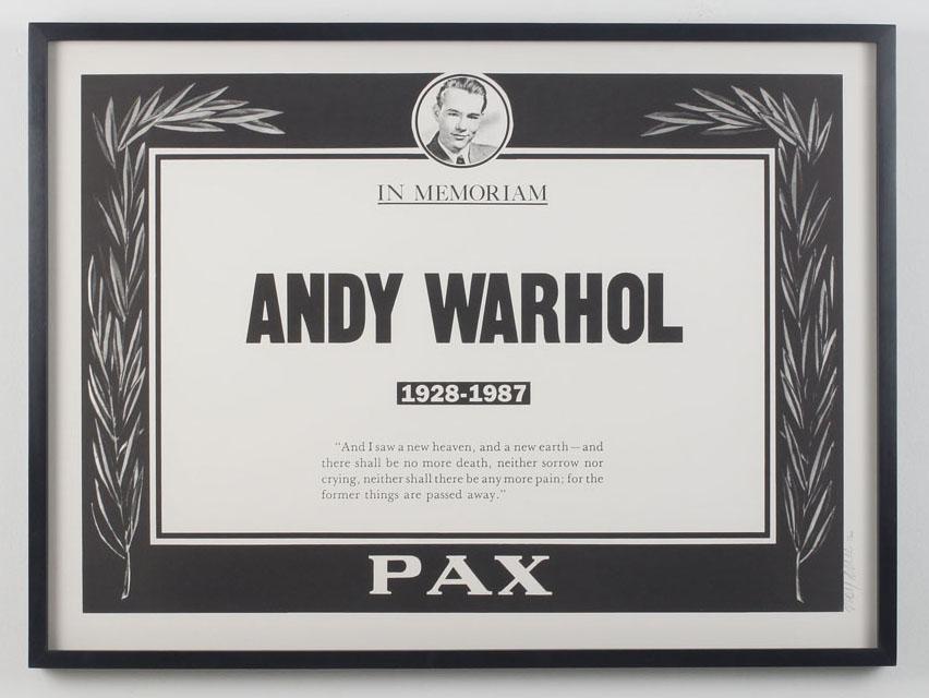 Andy Warhol Memorial poster, design, Trey Speegle, 1987