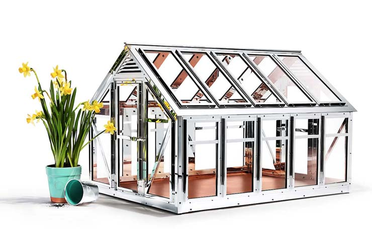 Sterling Silver Greenhouse, $275,000. Nine months and nearly 1,000 hours in the Tiffany workshop to build. 20″W x 26.75″L x 17.75″H