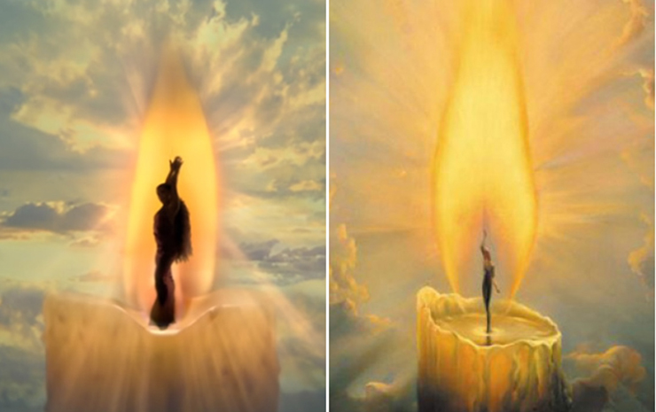 """A scene from Grande's music video for """"God Is a Woman"""", left; Kush's copyrighted paintings, """"The Candle"""", right"""