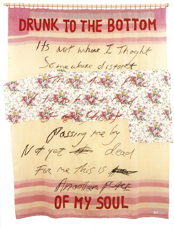 Tracey Emin, Drunk to the Bottom of My Soul, 2002. Appliqué blanket with embroidery. 76 x 63 in