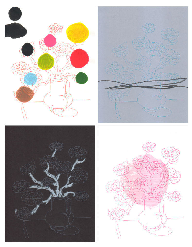 "Trey Speegle, 111 Reasons To Love You (91. adventurous) 2007, letterpress & mixed media on paper, 7 x 9"" each (set of 4 monoprints)"