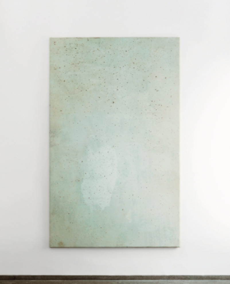 "Lawrence Carroll,  Grotte Painting , 2017, house paint and dust on canvas on wood, verso signed:  Carroll 2017 , 290 x 178 x 4 cm / 114 1/4 x 70 x 1 1/2"" (from 'Moments""')"