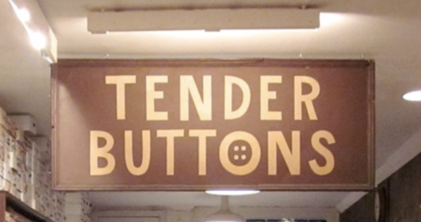 Artist Ray Johnson created the Tender Buttons logo