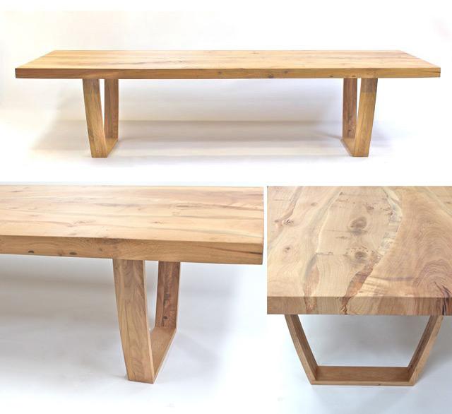 Oak table:  salvaged English oak, white hardwax oil finish, 300cm x 100cm, 75mm top