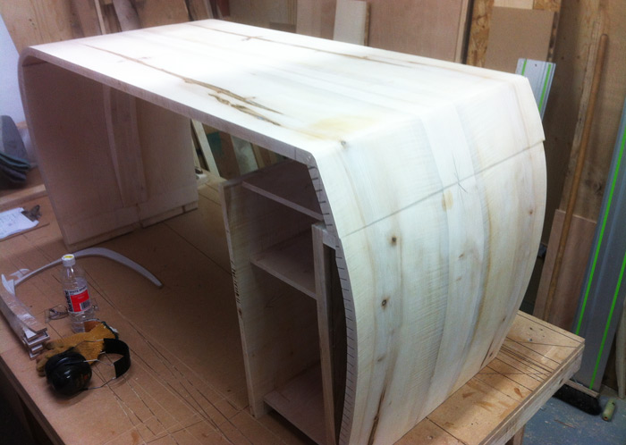 The skeletal shape of the desk is taking form, the drawers to follow with fronts and back panel.