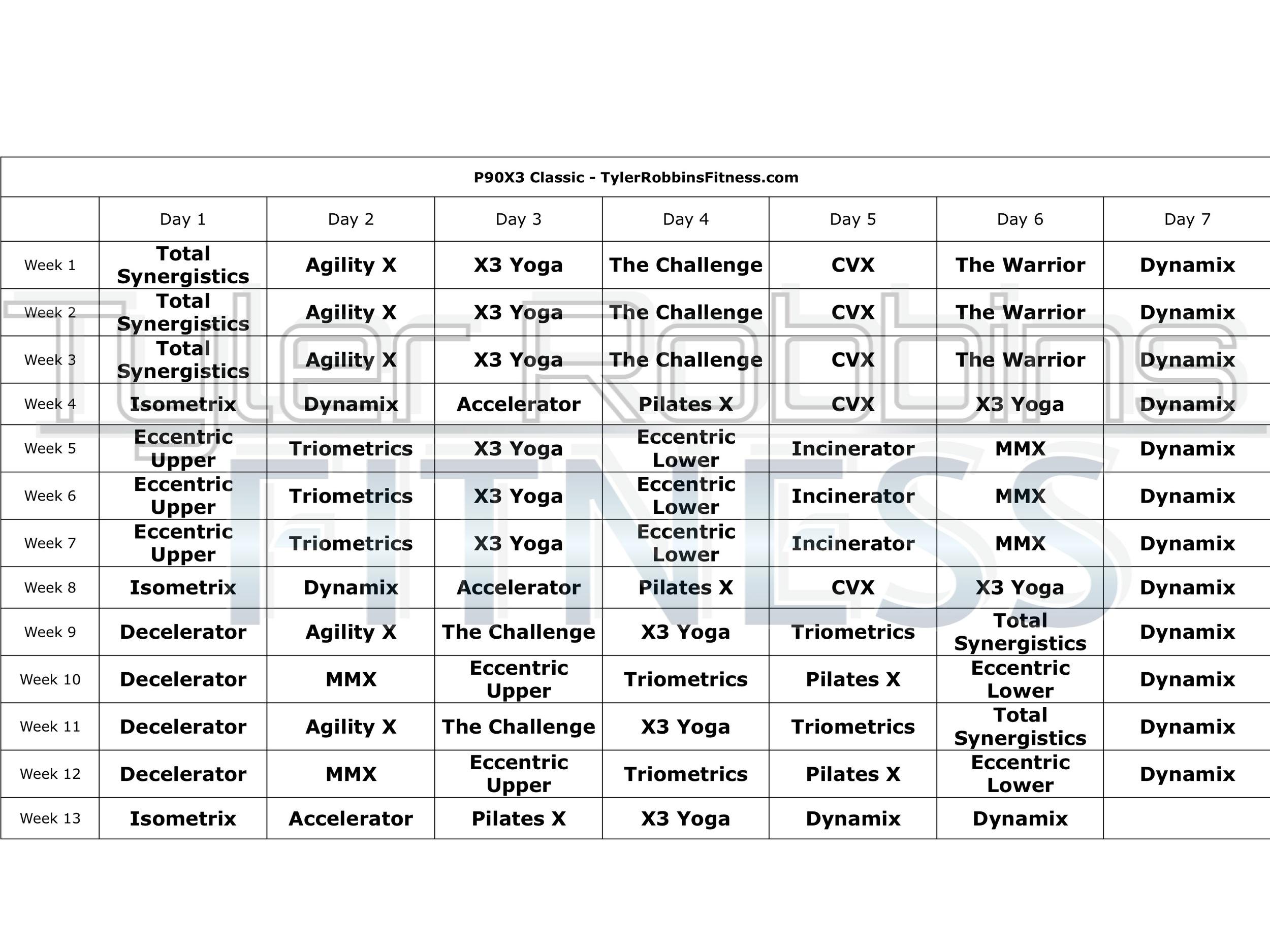 P90X3 Schedules — Tyler Robbins Fitness