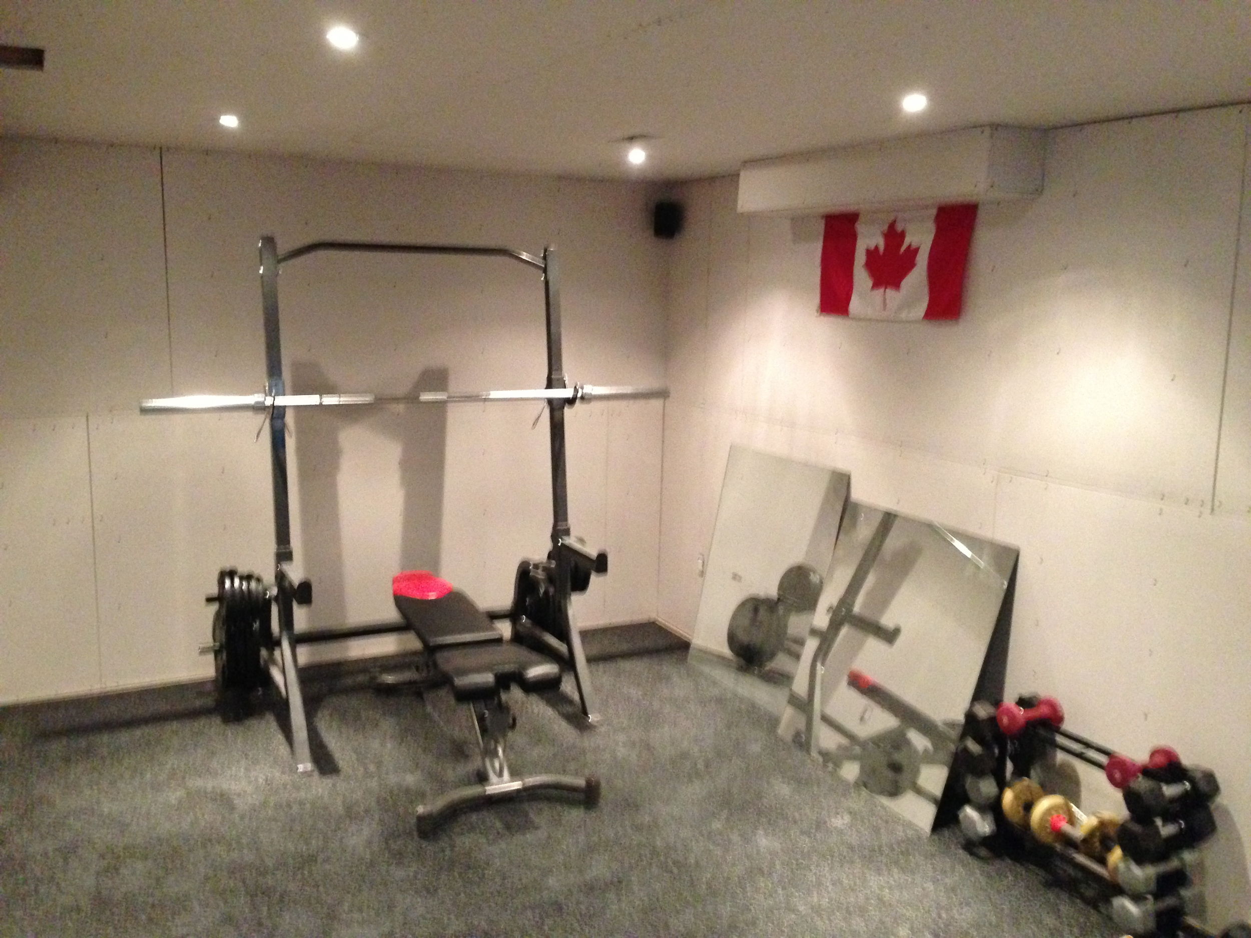 "I would call this the ""plateau point"" of my workout room. It stayed like this for several months while I tackled some other projects, like mudding and sanding other parts of my basement."