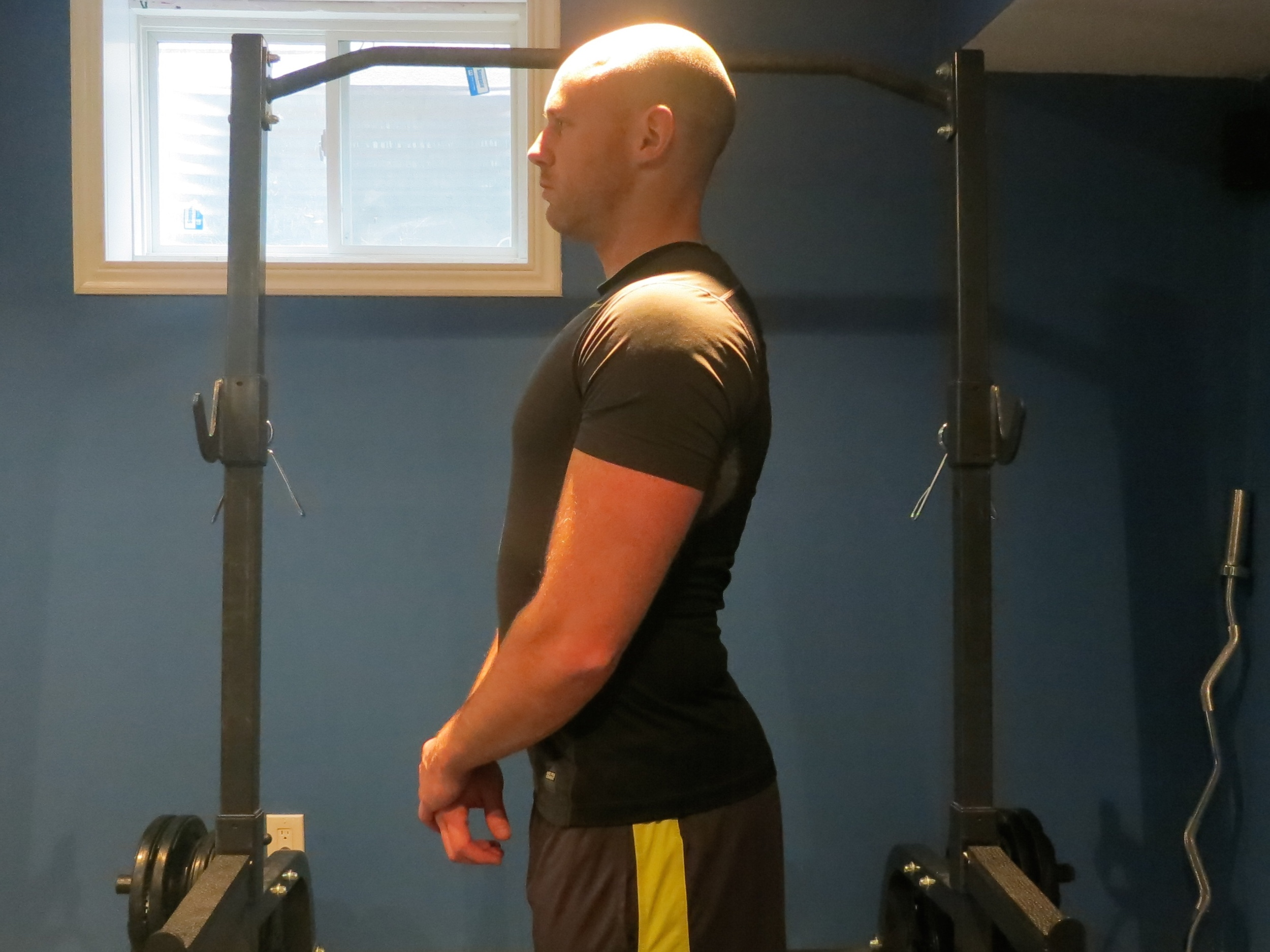 """Head remains up throughout, gaze slightly above parallel. Back is """"flat,"""" maintaining the natural S-curve with arch in the lumbar region. Core and abs are tight."""