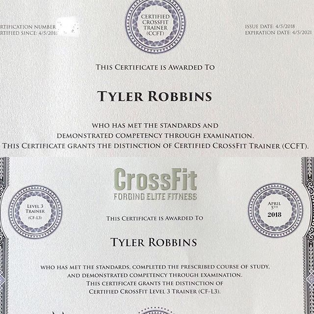 Certified CrossFit Trainer CCFT and CrossFit Level 3 CF-L3 certificates arrived today. Thanks @crossfittraining !!! #crossfit #crossfitorangeville #ccft #cfl3 #earned