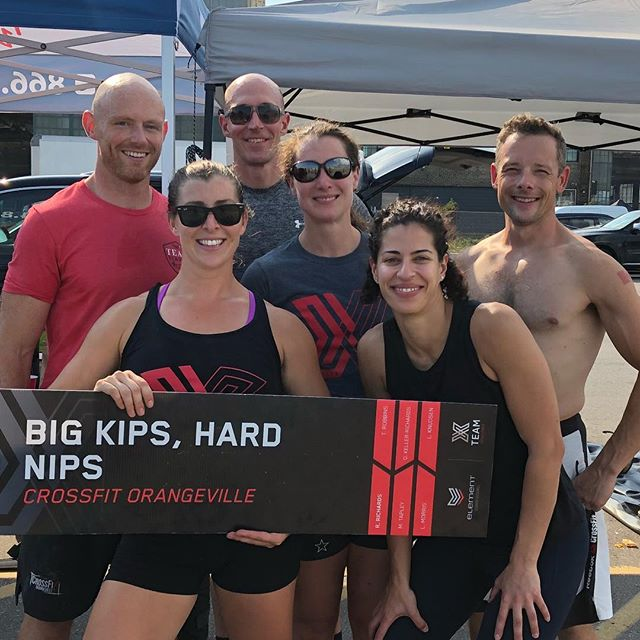 Had a blasty blast competing along side these teammates and gym mates today at the @elementcrossfit Team Challenge X @elementcomps today @crossfit.orangeville #crossfit #crossfitorangeville #teamchallengex #hot #humid #fun #fitness #competition
