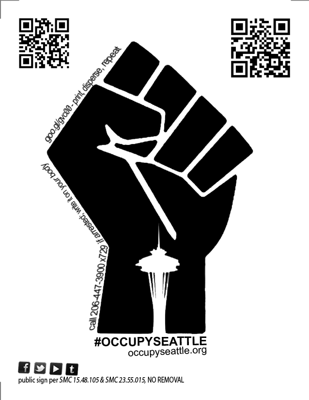 #OCCUPYSEATTLE, 2011    Flyer to provide protesters with immediate access to legal services and the education of their rights to assemble.