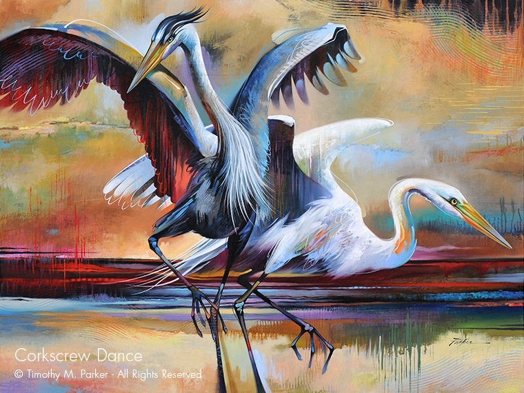 Abstract Blue Heron & Egret Painting - Artist Tim Parker