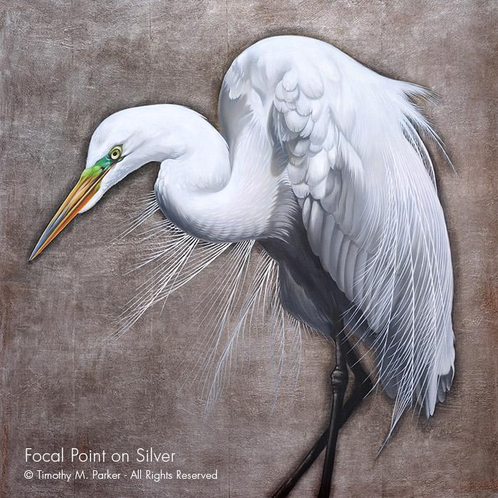 Egret Painting - Artist Tim Parker