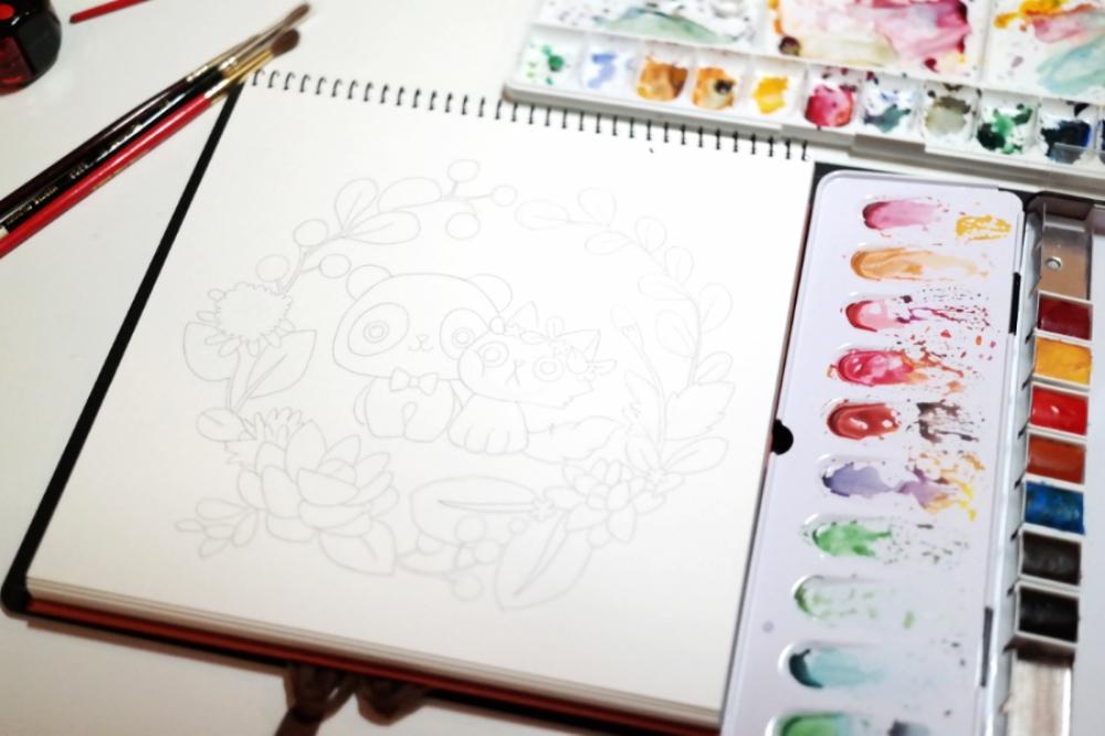 The final line art using 0.5mm B mechanical pencil