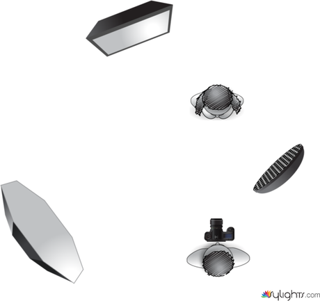 Here is a diagram of the lighting set-up with the final image below.