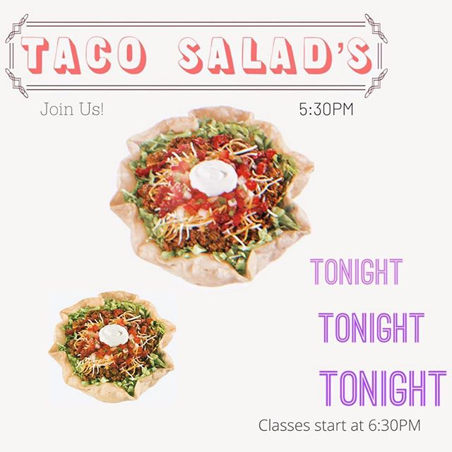 Hey everyone! I hope you guys are having a wonderful Wednesday so far. Don't forget about our usual Wednesday night classes that we have available tonight. ——————————————————— Taco Salads will be provided starting at 5:30pm. ——————————————————— Take this opportunity at work or school to invite someone you feel would really benefit from these classes. I hope you all continue to have a good day. See you tonight!
