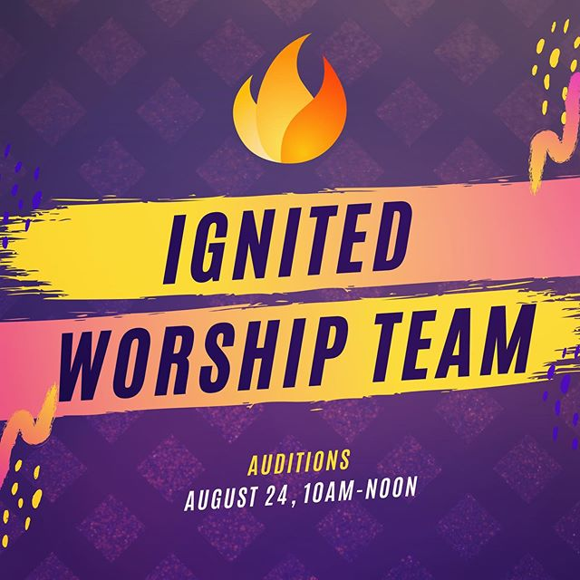 We are so excited to have youth auditions for vocals and instruments!We'd like to encourage any student with a heart desiring to worship the Lord to please step out in courage and give this a try!  Our Heavenly Father is on the move, ready to pour out His love and His Spirit on those that are hungry for more of Him!  The 2 songs to be performed for the audition are: 1. Alive 2. Who you say I am ** Both songs are by Hillsong Young & Free **If you need sheet music to practice, please let Orlando and Rebecca know by calling or texting (972) 897-5678  Auditions will be held at the church on Saturday, August 24th from 10am to Noon. We hope to see you there!