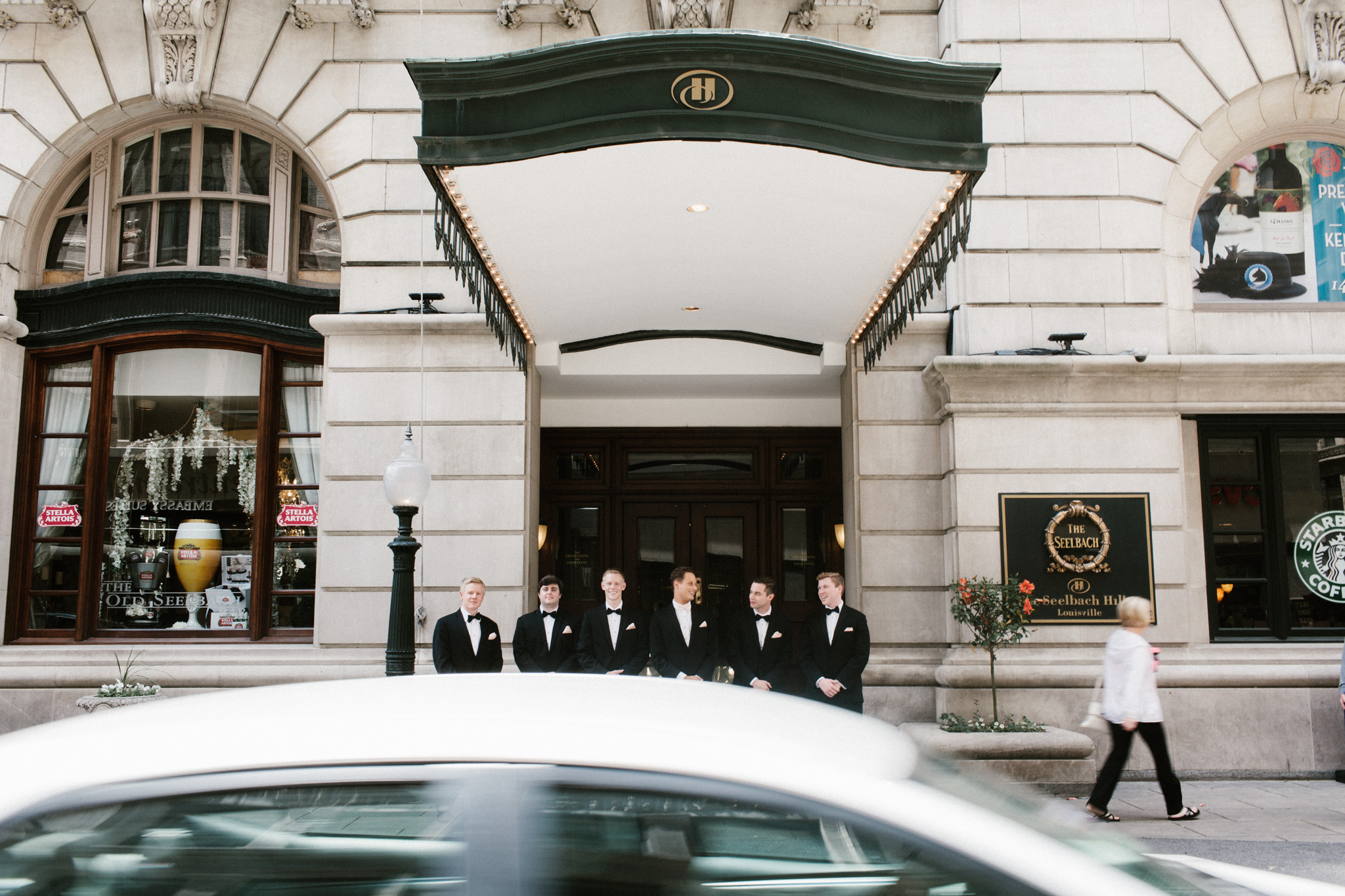 groomsmen standing at seelbach hotel