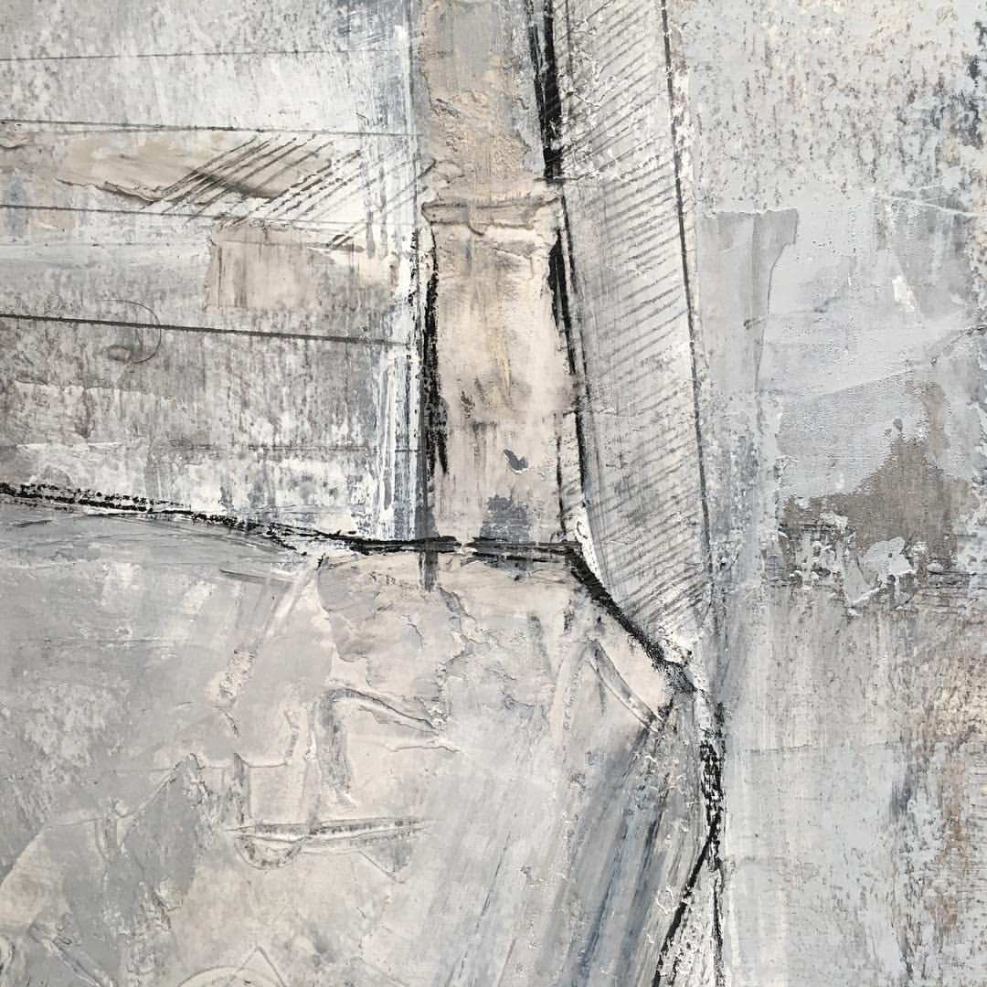 Detail  .  .  .  .  .  #painting #contemporaryart #abstract #art #mixedmedia #detail #texture #blackandwhite #closeup #charcoal #structure  (at Green Point, Brooklyn, NY)