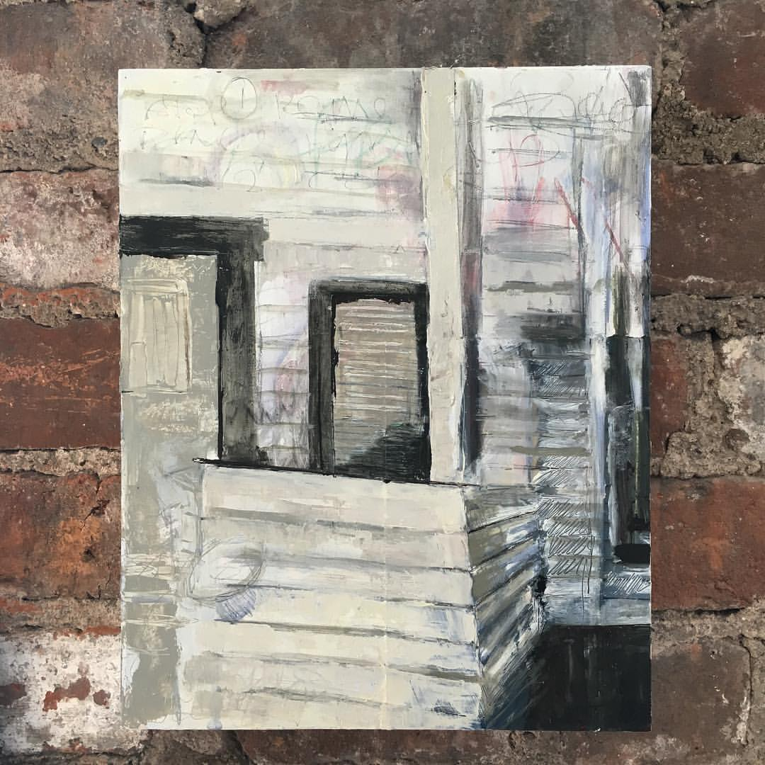 "First day at work in my new summer studio @nyacademyofart   8"" x 10"" mixed media on panel  #fineart #mixedmedia #texture #contemporaryart #oilpainting #art #artwork #porch  (at New York Academy of Art)"